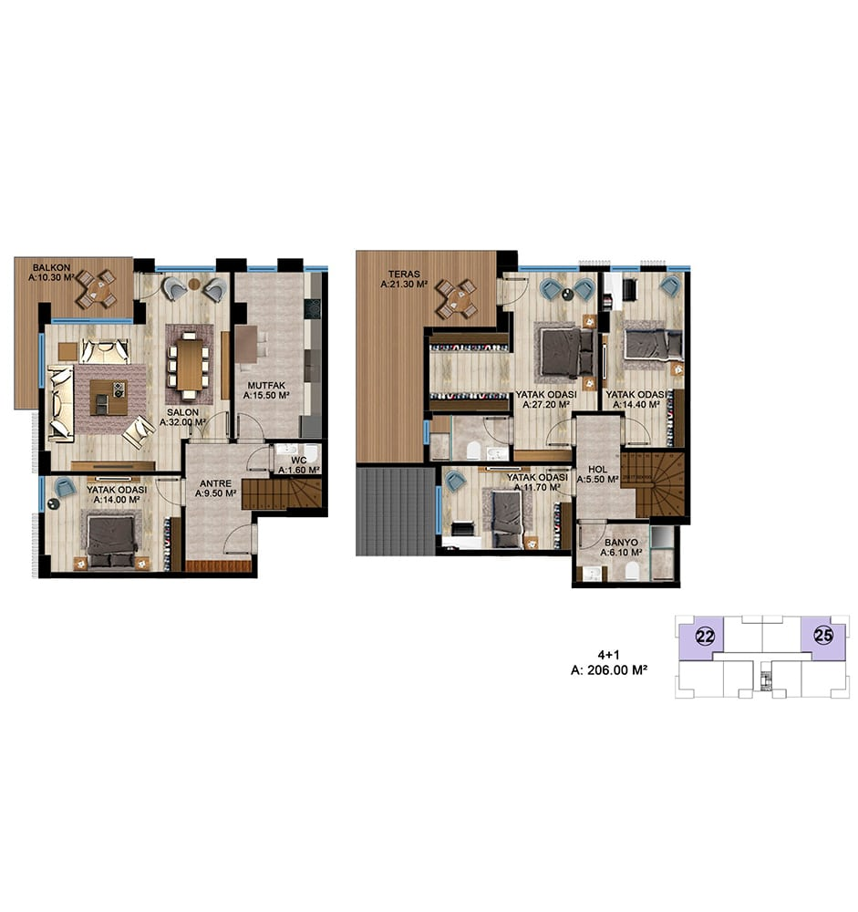 Zeray Koru Park  4+1 Dublex  Kat Planları