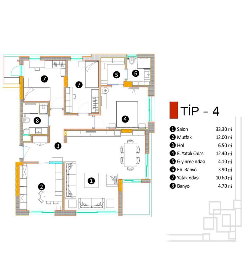 Zeytinpark Rezidans 3+1 Kat Planları